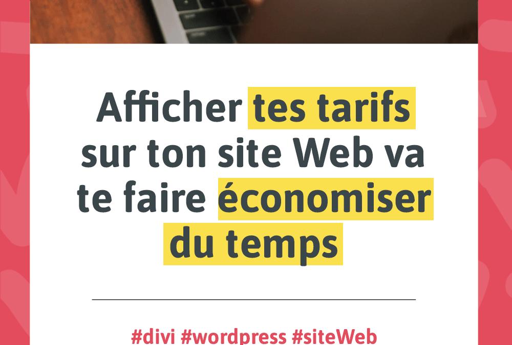 Visuel pour l'article Afficher tes tarifs sur ton site Web va te faire économiser du temps
